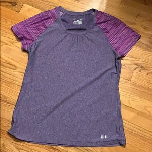 Under Armour fitted heat gear shirt- purple-  L